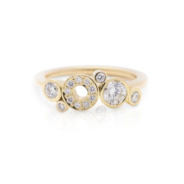 single band diamond dress ring made in 18ct yellow gold from the cabonated collection