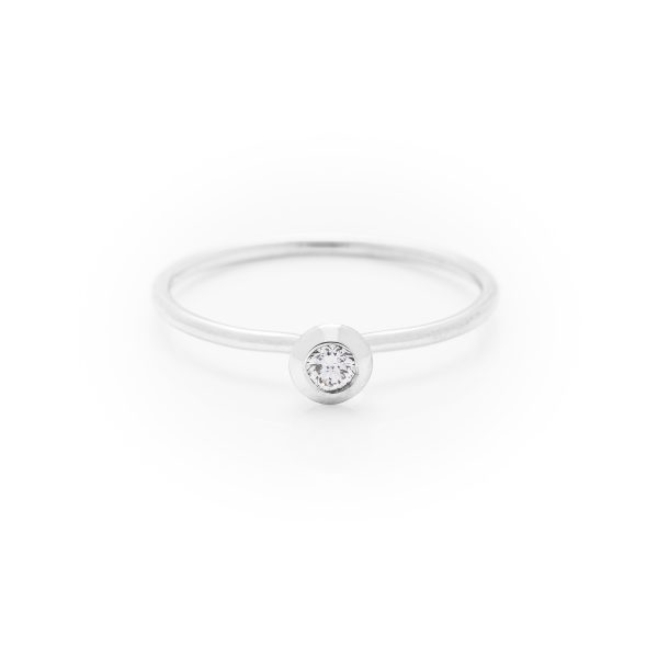 single diamond dress ring made in 18ct white gold. From our flowers collection
