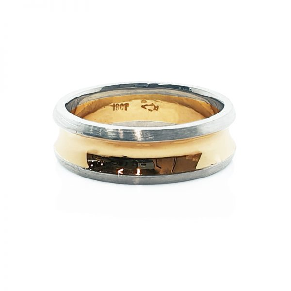 18ct gold Concave males widding ring1