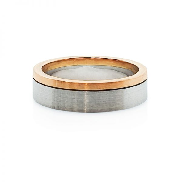 18ct red gold and platinum gents wedding ring
