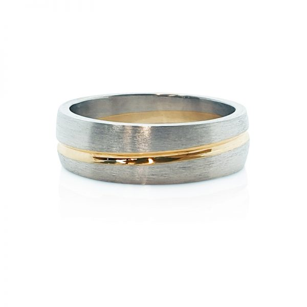 18ct white and yellow gold gents wedding ring
