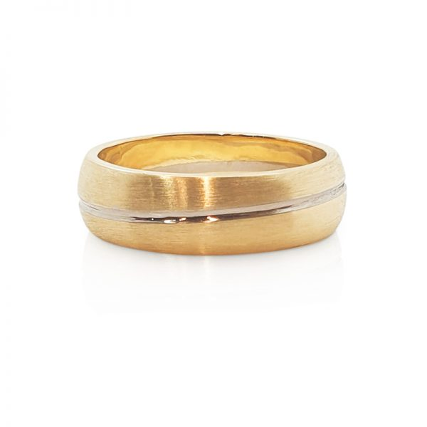 18ct white and yellow gold male wedding ring