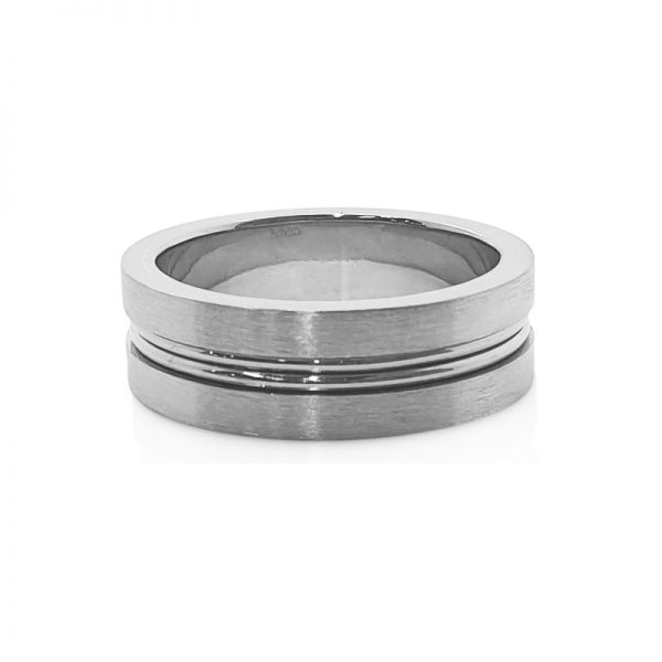 18ct white gold double wire males wedding band