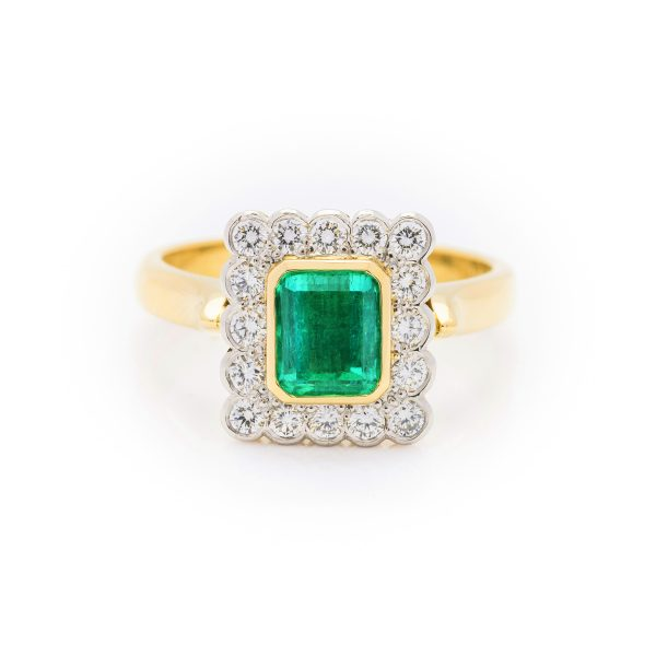 18ct yellow gold and platinum colombian emerald and diamond dress ring