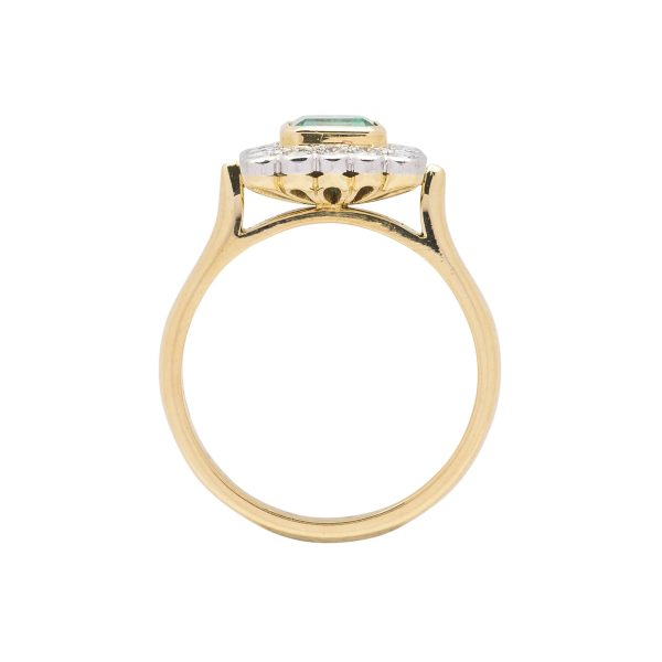 18ct yellow gold and platinum colombian emerald and diamond dress ring - side view