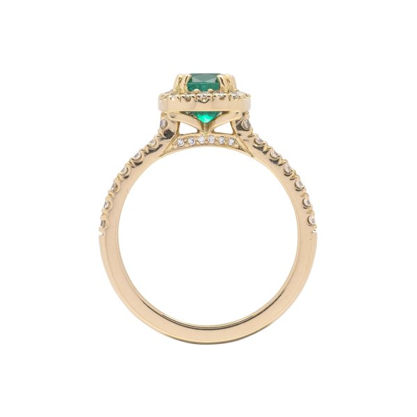 18ct yellow gold colombian emerald and diamond dress ring - side view