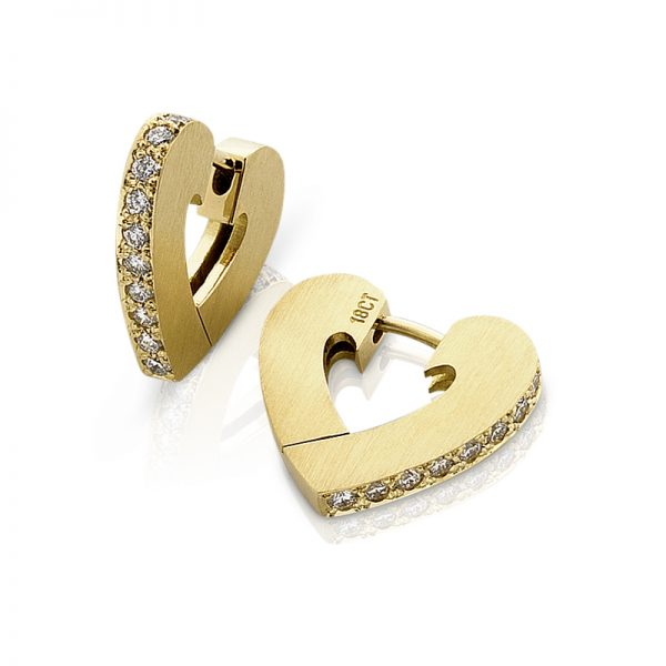 18ct yellow gold diamond heart cuff earrings