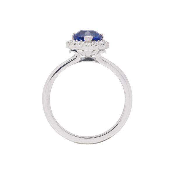 Platinum diamond and pear shaped ceylon sapphire hand made dress ring - side view