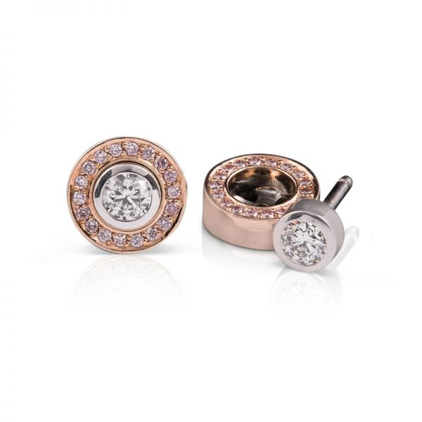 Rubover diamond studs with removable pink diamond halo