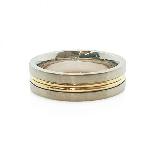 18ct White and yellow gold double wire gent wedding ring