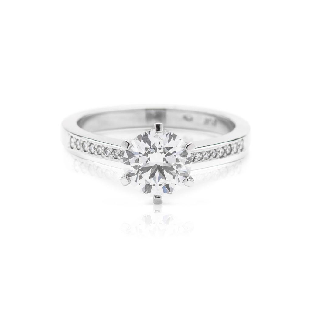modern 6 claw platinum diamond solitaire engagement ring