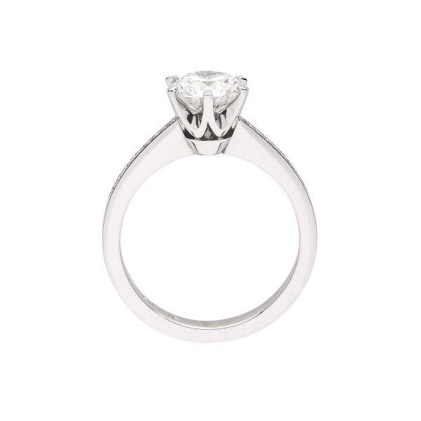 modern 6 claw platinum diamond solitaire engagement ring - side view