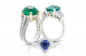 Top quality hand crafted sapphire and emerald dress rings from carats Jewellery designs
