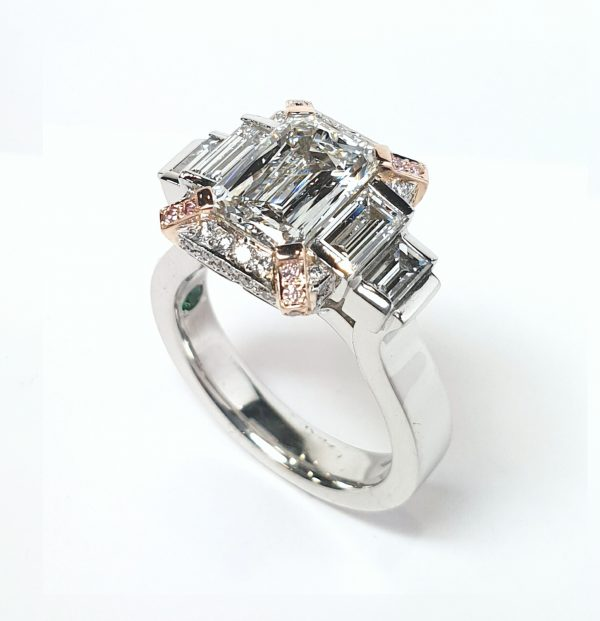 Pink diamond baguette hand made ring