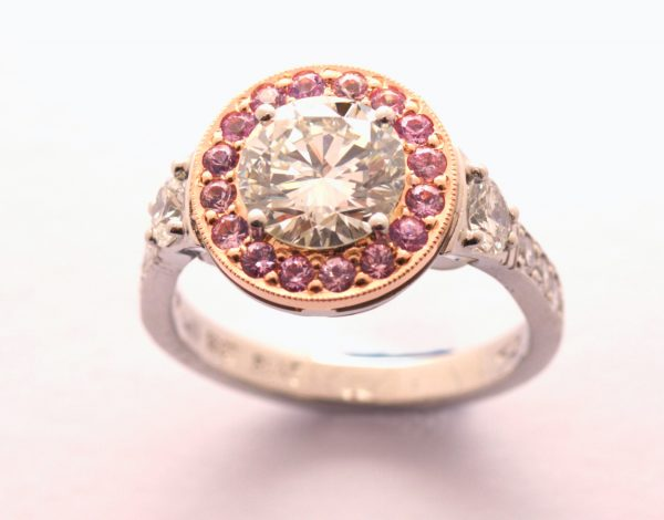 Pink Diamond Cluster Ring Photo 1c