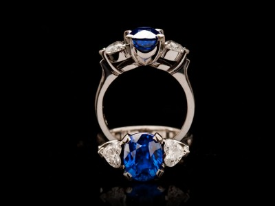 3.66 Carat Ceylon Sapphire and Diamond 3 Stone Ring