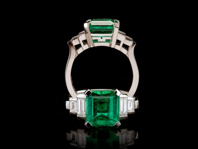 3.8 Carat Colombian Emerald and Diamond Dress Ring