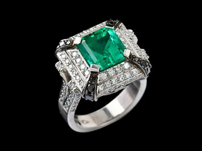 3.98 Carat Colombian Emerald and Diamond Cluster Ring