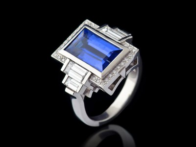 6.08 Carat Baguette Ceylon Sapphire and Diamond Ring