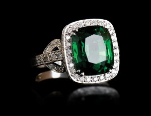 6.3 Carat Deep Green Tsavorite and Diamond Cluster Ring