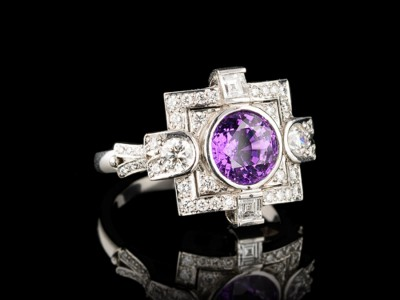 Art Deco Purple Sapphire and Diamond Dress Ring