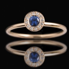 18ct Rose Gold Small Round Blue Sapphire Diamond