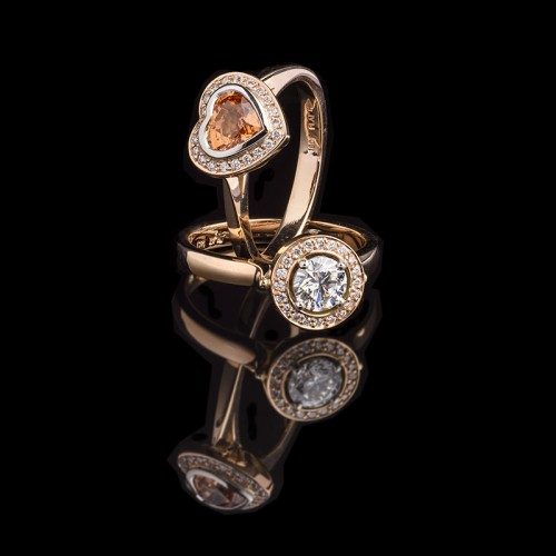 18ct Rose gold orange sapphire and diamond cluster rings