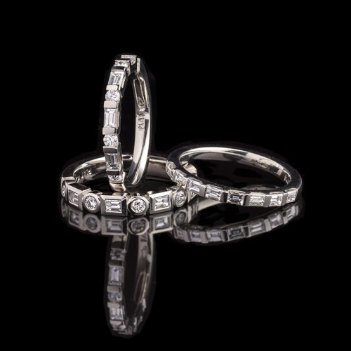 Diamond platinum wedding bands