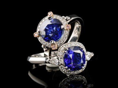 Ceylon Sapphire and Diamond Cluster Rings