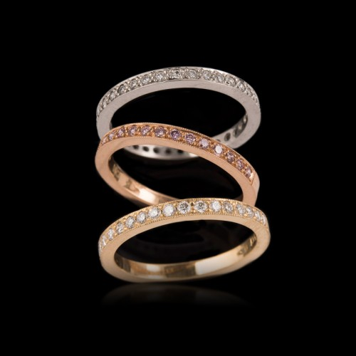 Diamond Bead Set Wedding Bands