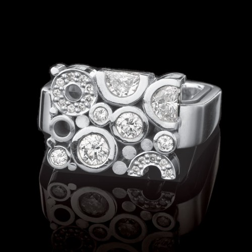 Carbonated Diamond Square Dress Ring