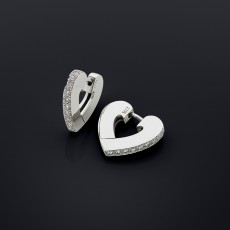18ct white gold and diamond heart clip earrings