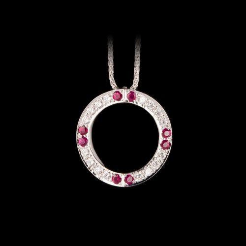 Hidden Heart Diamond and Ruby Pendant