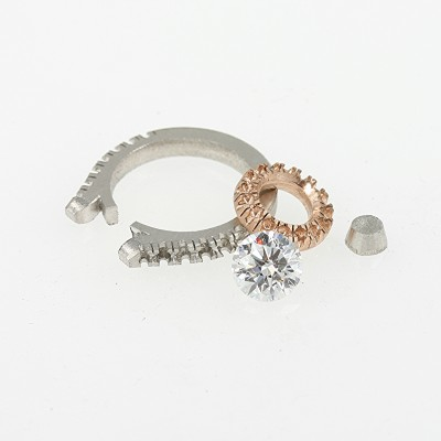 Platninum band 18ct rose gold and diamond