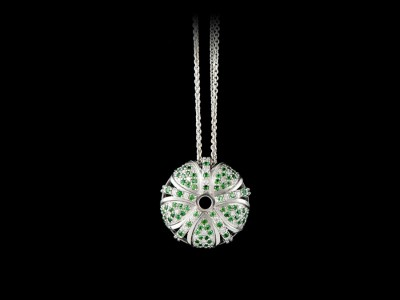 Kina Cut Out Diamond Pendant with Tsavorite Garnets
