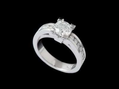 Life Solitaire Diamond Ring with Diamonds on Shoulders