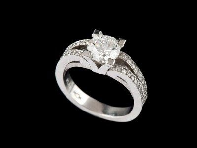 Life Solitaire Diamond Ring with Diamonds on Shoulders Double
