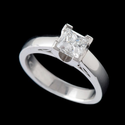 Modern Solitaire Diamond Ring Filigree
