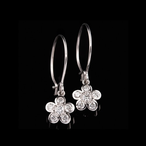 Rounded Diamond Flower Earrings