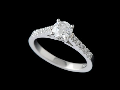 Solitaire Diamond Engagement Ring With Diamonds On Shoulders