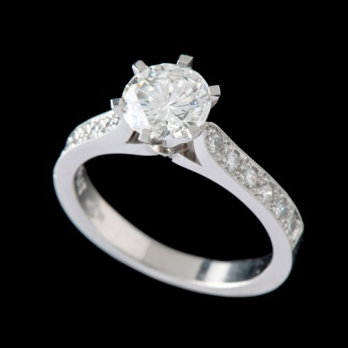 Solitaire Diamond Engagement Ring With Diamonds On Shoulders Round