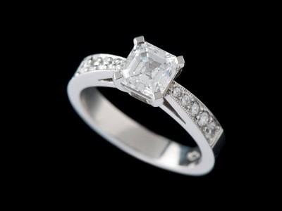 Solitaire Diamond Engagement Ring With Diamonds On Shoulders Square