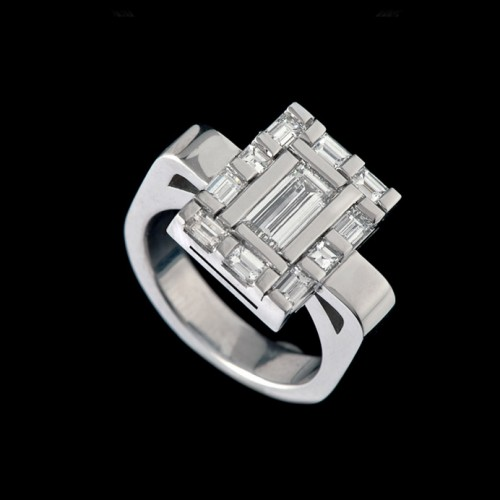 Water Rectangular Diamond Dress Ring