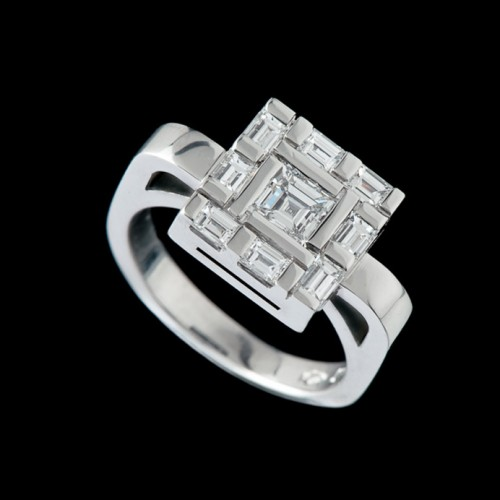 Water Square Diamond Dress Ring