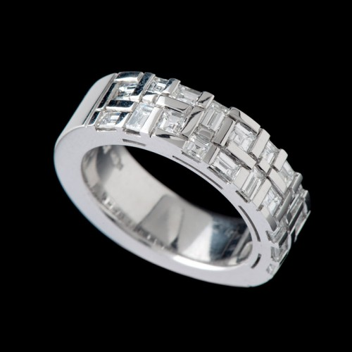 Wide Water Diamond Ring